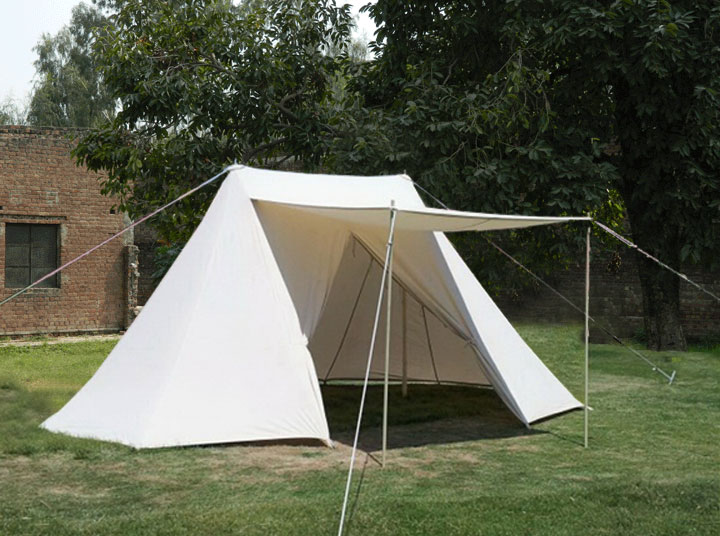 Using only four upright poles (two for the tent and two for the porch shad) the Double Bell Wedge Tent gives comfort without taking up space. & Double Bell Wedge | GarbGeek